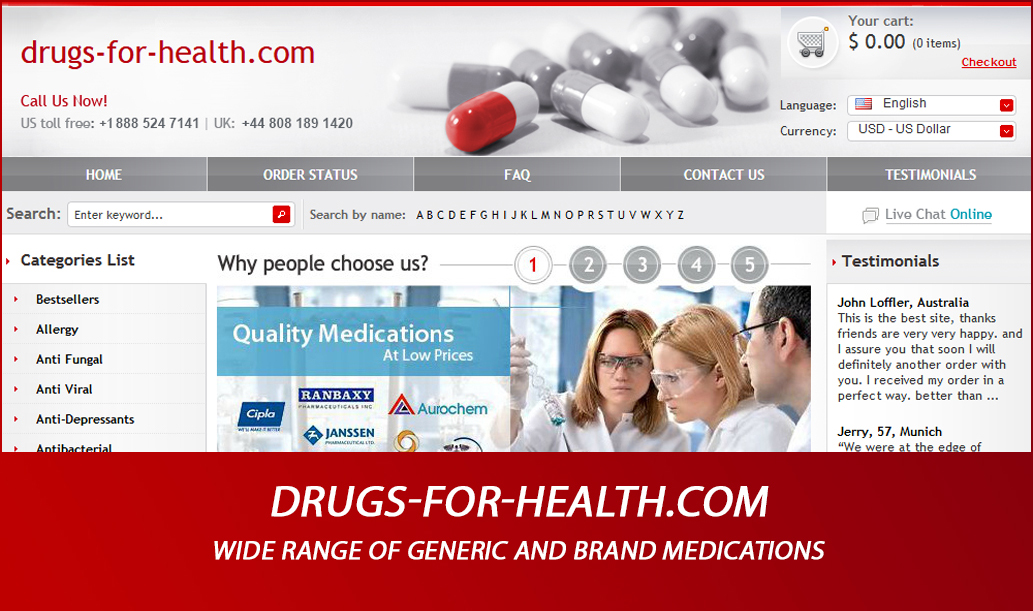 Drugs-for-health.com Review - Wide Range of Generic and Brand Medications