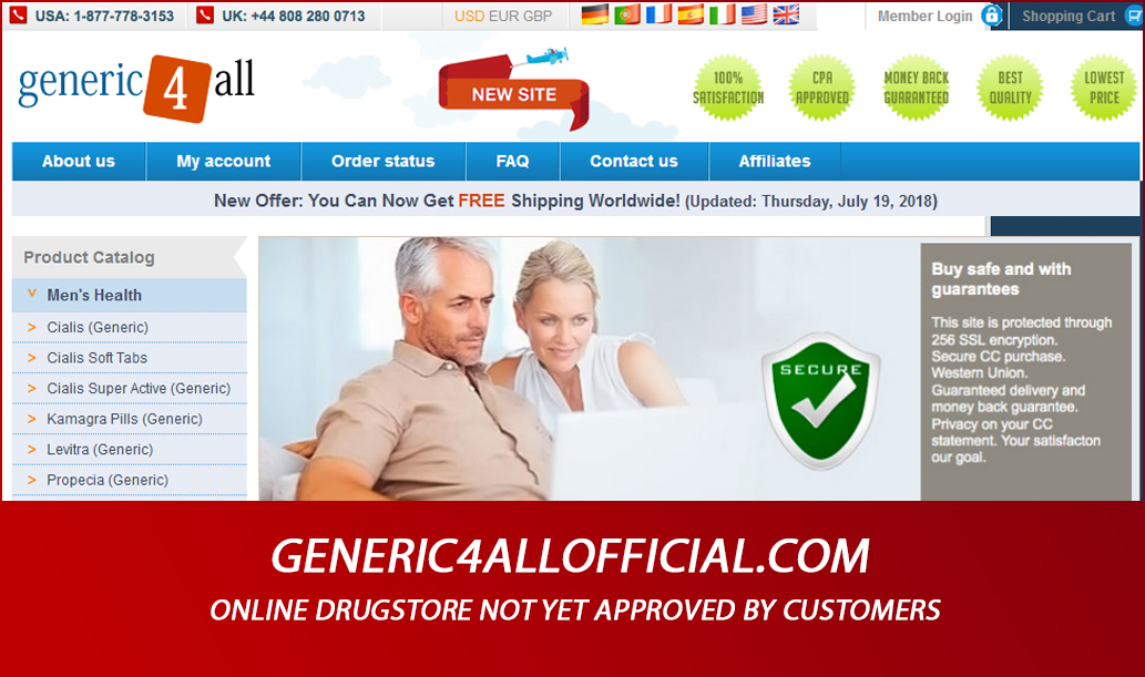 Generic4allofficial.com Review - Online Drugstore not Yet Approved by Customers